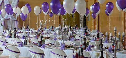 Purple and white wedding theme.