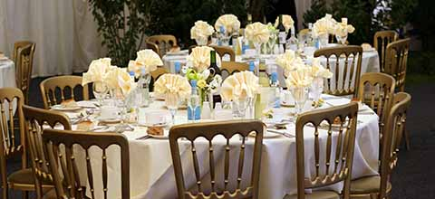 Yellow and blue table setting.